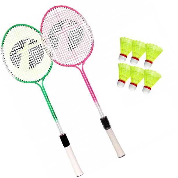 AS Badminton Set Of 2 Piece Racquet with 6 Piece Plastic Shuttle Badminton Kit Orange Strung Badminton Racquet