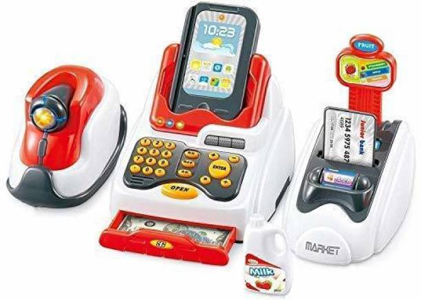 Smartcraft Toy Cash Register for Kids with Checkout Scanner,Card Reader, Credit Card Machine, Play Money and Food Shopping Play Set- Battery Included