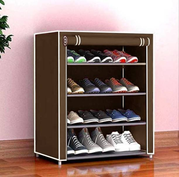 Cmerchants Home Creative 4 layer collapsible shoe rack BROWN Metal Collapsible Shoe Stand