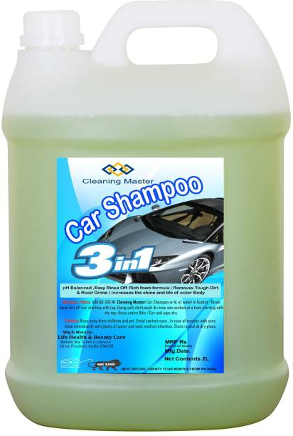 Cleaning Master Car Shampoo (2L) pH Neutral Formula For Safe, Spot Free Cleaning - Honey Thick, Luxurious Suds That Always Rinses Clean - Ultra Slick Formula That Wont Scratch or Leave Water Spots. Car Washing Liquid