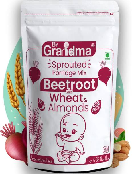 By Grandma Baby Porridge Mix - Sprouted Wheat and Beetroot with Almonds For 12+ months Cereal