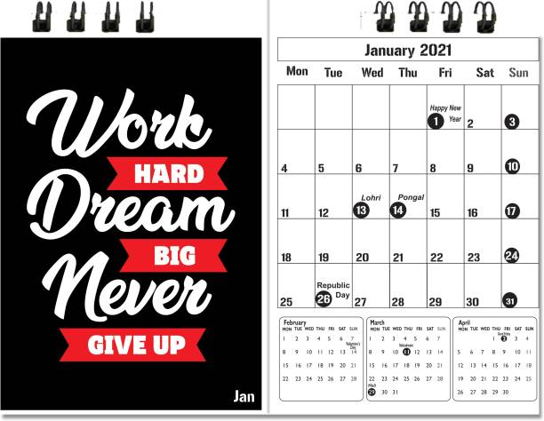 Accuprints red motivational desk calendar 2021 Table Calendar