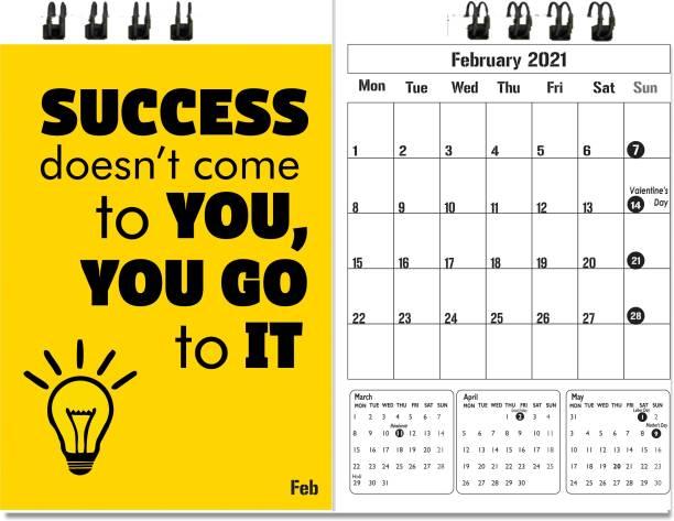 Accuprints motivational black desk calendar 2021 Table Calendar
