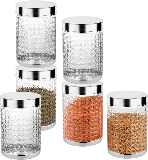 Sky Hector Celeberation 6 Pcs Storage Pet Container Gift Set For Kitchen,(1250 ml,Silver)  - 1250 ml Plastic Grocery Container
