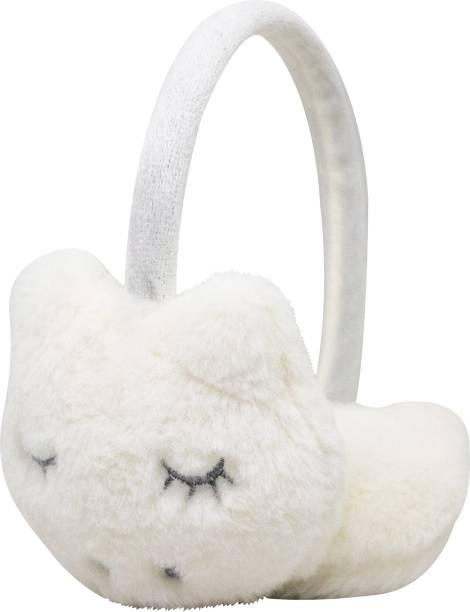 Neska Moda White Winter Outdoor Wear Adjustable Size Fur Ear Muffs/Warmers For Girls & Womens Ear Muff