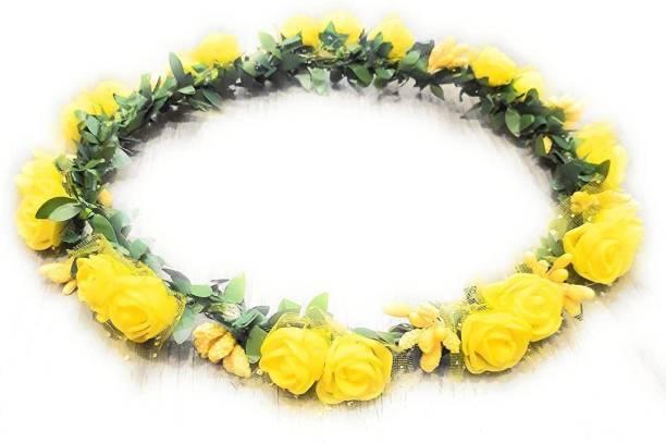 LAMANSH Yellow Floral Hair Tiara / Designer Tiara Crown for Wedding & Haldi Ceremony / Artificial Flower Hair Accessory Tiara for Women / Bridal Tiara ( Yellow) Hair Accessory Set