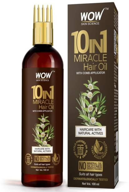 WOW SKIN SCIENCE 10 in 1 Miracle Hair Oil - WITH COMB APPLICATOR - Cold Pressed - No Mineral Oil, Silicones & Synthetic Fragrance - 100 ML Hair Oil