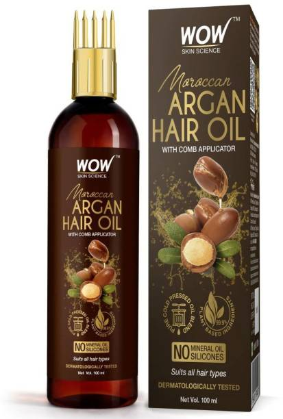 WOW SKIN SCIENCE Moroccan Argan Hair Oil - WITH COMB APPLICATOR - Cold Pressed - No Mineral Oil & Silicones - 100mL Hair Oil