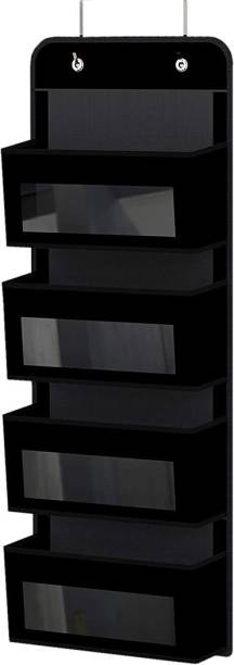 Flipkart SmartBuy Over Door/Wall Mount 4 Clear Window pocket Organizer, Black Accessories Organizer