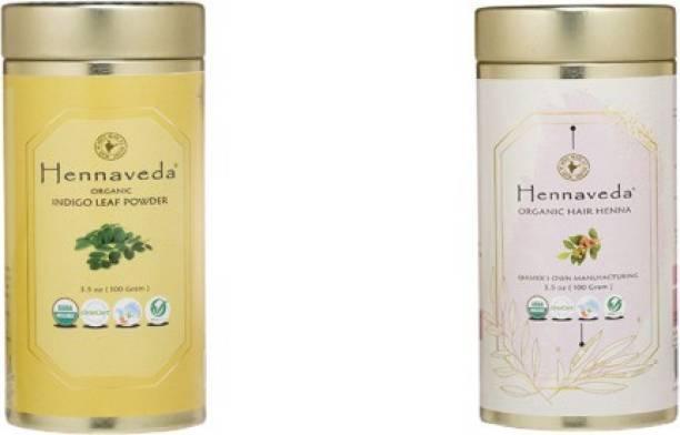 Hennaveda henna 100g+indigo powder 100g (Organic Hair Color Combo)