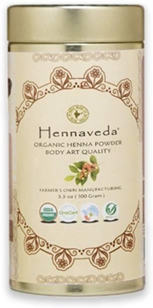 Hennaveda Organic Body Art Quality Henna Powder 100g