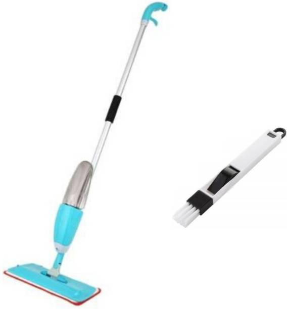 Ingeniero Microfiber Steel Floor Cleaning Exclusive Design Spray Mop With Integrated Bottle all Surface Floor Tile Cleaner Wet & Dry Mop with Dust Cleaning Brush for Window Frame, Sliding Window Track, Laptop Keyboard, Car Air Vents with Dust Pan Plastic Dry Brush Plastic Wet and Dry Brush Plastic Wet and Dry Brush (Black, White) Mop, Cleaning Brush. Mop, Cleaning Brush