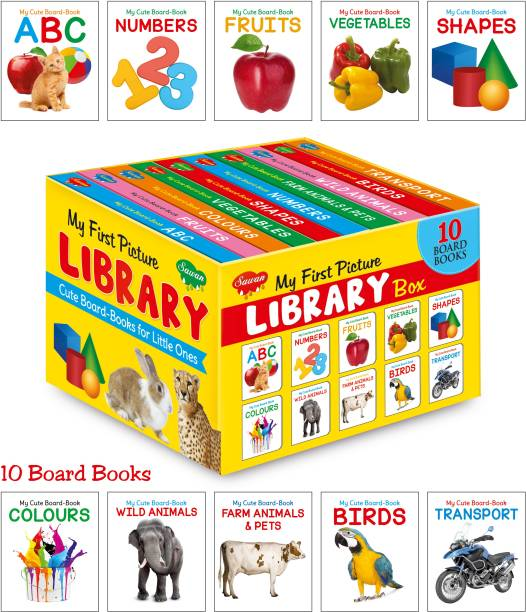 Picture Book Collections For Early Learning (Set Of 10 Board Books) - My Book Of ABC, My Book Of Numbers, My Book Of Colors , My Book Of Birds, My Book Of Vegetables, My Book Of Fruits, My Book Of Shapes, My Book Of Farm Animals & Pets, My Book Of Transport, My Book Of Wild Animals (Hardcover, Sawan)