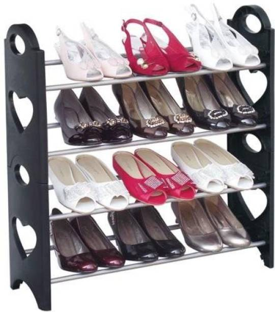 Attache 12 Pair, 4 Shelves Plastic Shoe Stand