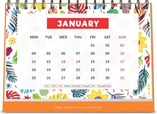 ESCAPER Flowers 2021 Floral Table Calendar (A5 Size - 8.5 x 5.5 inch - 12 Pages Month Wise), Desk Calendar 2021 2021 Table Calendar