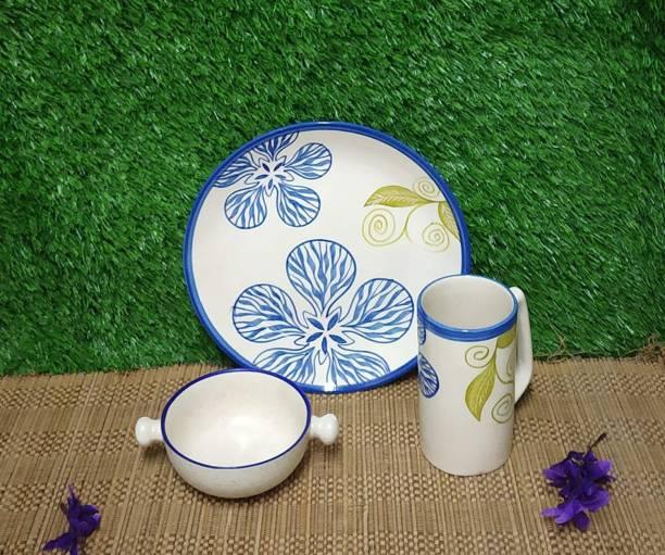 caffeine Pack of 3 Ceramic Handmade Blue Flora Breakfast Set Dinner Set