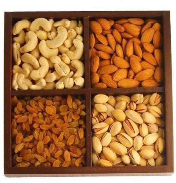 Shri Jain Grocery Gift Hampers Dry Fruits Items Kaju/Badam/Pista/Kishmish (100gm Each) Dry Fruits and Nuts Box Pack Cashews, Almonds, Raisins, Pistachios