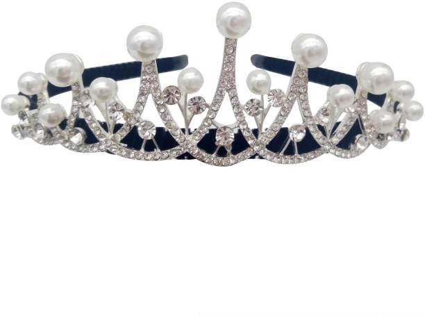 NANDANA COLLECTIONS Princess Golden Sparkling Rhinestone Wedding Partywear Women and Girl Crown Headband Tiara Hair Band