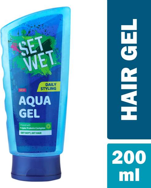 SET WET Daily Use Hair Styling AQUA GEL For Soft and Set Hair,Triple Protein Complex Hair Gel