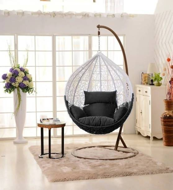 SPYDER HOME DECORE Swing Chair With Stand Cushion Iron, Plastic Large Swing