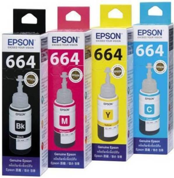 Epson 664 For Epson L100, L110, L130, L200, L210, L220, L300, L310, L350, L355, L360, L365, L380, L455, L550, L555, L565 Printers Black + Tri Color Combo Pack Ink Bottle