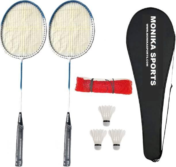 Monika Sports Badminton Kit ( 2 Single Shaft Racquet + 1 Badminton Net + 3 pc Feather Shuttle + 1 Cover ) Badminton Kit