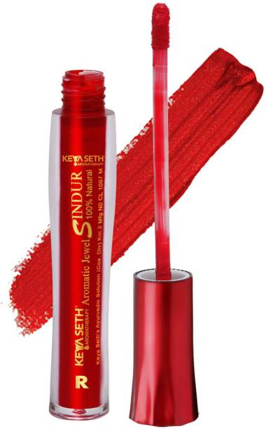 KEYA SETH AROMATHERAPY Aromatic 100% Natural Liquid Sindoor Red with Sponge-Tip- Applicator- Long lasting Chemical free & Waterproof with Floral Pigment- 8ml sindoor