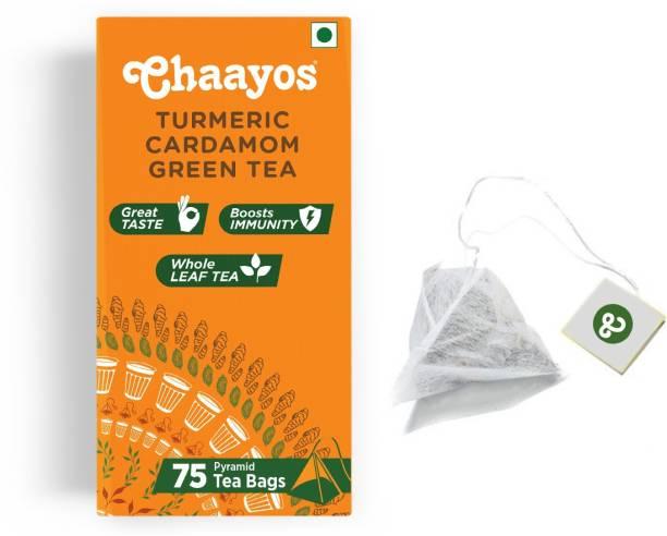 Chaayos Immunity Boosting Turmeric (Haldi) Cardamom (Elaichi) Whole Leaf Turmeric Green Tea Bags Box