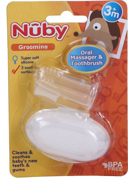 NUBY Oral Massager & Toothbrush for your Baby with soft Silicone 3months+ Soft Toothbrush