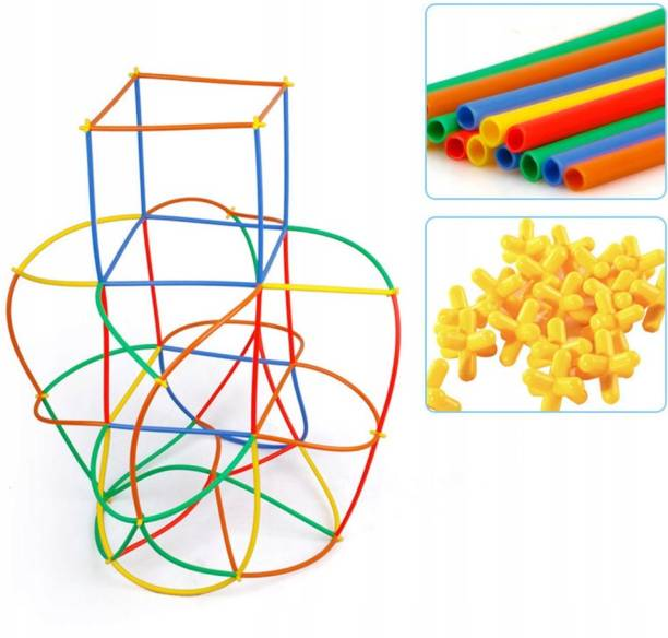 Kidzy unbreakable colourful PVC fiber assemble STICK toy & STRAW & PIPE & assembling BLOCK joint toys kit under create & build to GROW kids creativity & children PUZZLE solving & boy ENGINEERING skill & girl IQ buster & baby EDUCATIVE idea