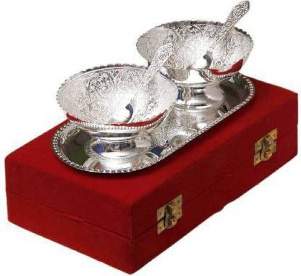 VISION INDIA CO Lotus in a Bowl Silver Plated Decorative Bowl, Spoon, Tray Serving Set