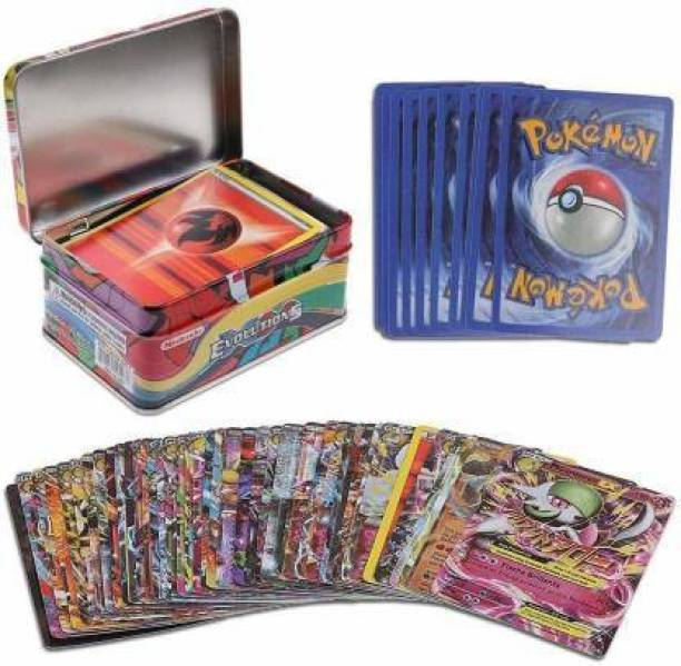 GOLDEN-BRIGHT Pokemon Cards in Metal Box Kids Gift-Funny 42 Pcs.