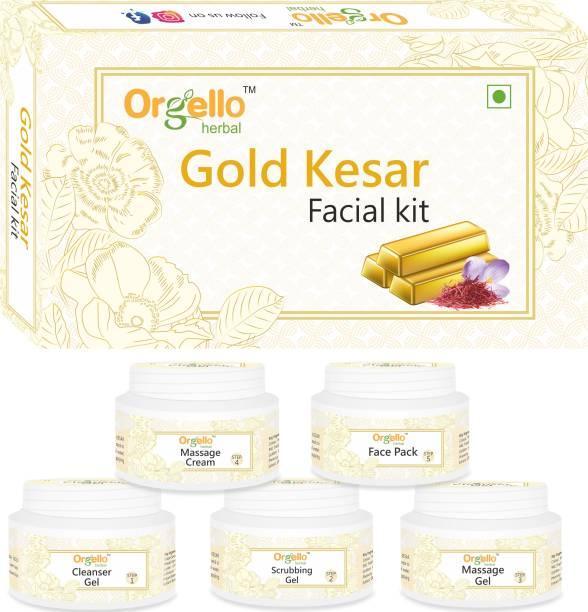 orgello Herbal Gold Kesar Facial Kit for women men boys girls oily normal dry skin Tulsi Organge Pine Apple Papaya SLS free Paraben free