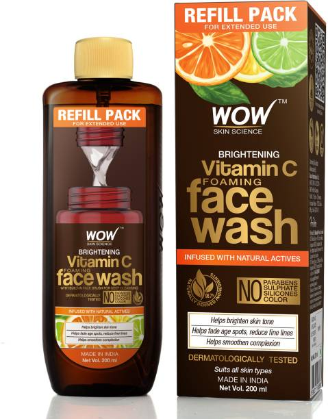 WOW SKIN SCIENCE Brightening Vitamin C Foaming  Refill Pack - with Natural Actives - For Skin Brightening and Smooth Skin - For Extended Use - No Parabens, Sulphate, Silicones & Color - 200 ml Face Wash