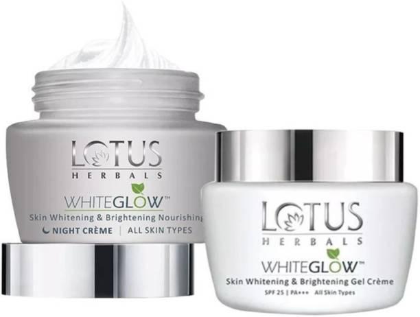 LOTUS HERBALS Skin Whitening & Brightening Gel Cream AND Night Cream in Combo