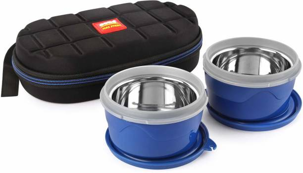 cello Max Fresh Micro Insulated Lunch Box with plastic Inner, 2 Pieces, Blue 2 Containers Lunch Box