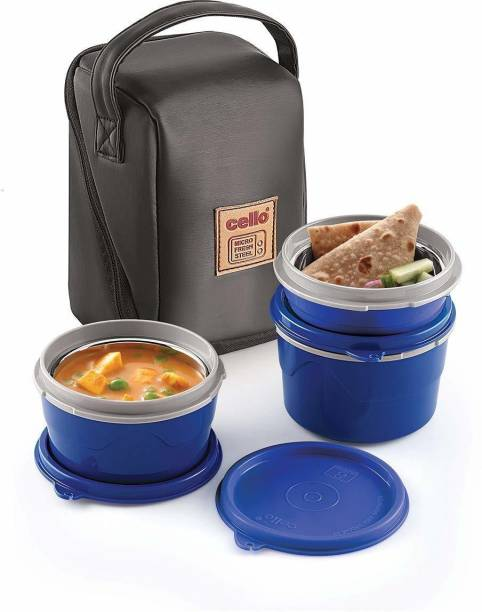 cello Max Fresh Micro Lunch Box, 3-Pieces, Blue 3 Containers Lunch Box
