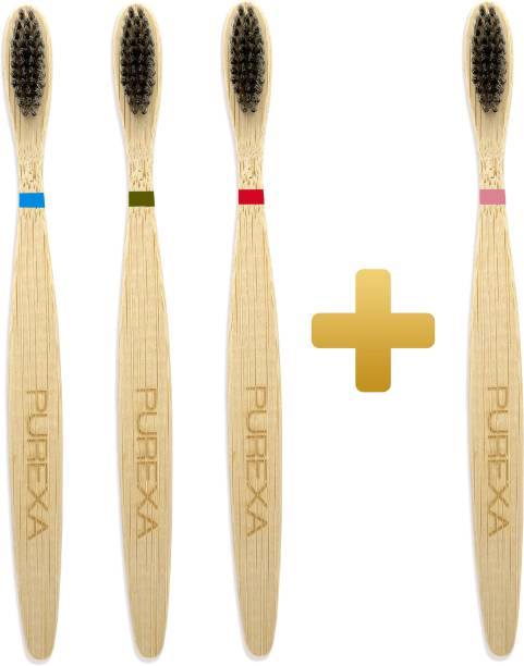 PUREXA Bamboo Charcoal Toothbrush, Soft brush - (Pack of 4), With Charcoal Infused BPA free Grade 4 Nylon Soft Bristles Soft Toothbrush