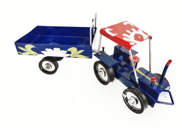 BHATIYA Metal Tractor/Iron Tractor/Lokhand Tractor Toy with Colorful Openable Trolley For Your Kids ( Big Size-Blue )