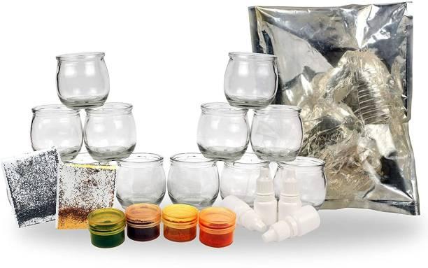 Elegant Casa Complete DIY Glass Candle Making Kit Including Paraffin Gel, Pigment Colours, Candle Wick, Scents, Tumbler Glasses, Gel, Wicks & Sparkle (Tumbler Glass -12 Pcs, Gel)