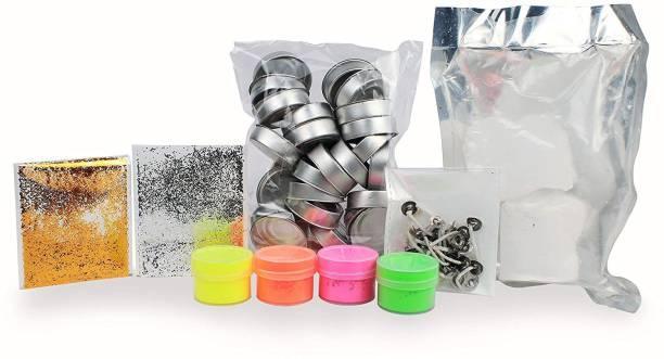 Elegant Casa Tealight Candle Making DIY Kit with Aluminium Cups,Fragrance, Paraffin Wax, Multi Colours, Sparkle, Wicks (25 Pcs, Aluminum Diya Kit)