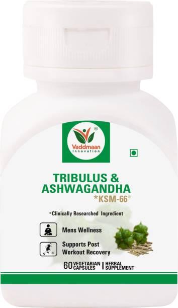 vaddmaan Tribulus Terrestris (Gokshura) with KSM-66 Ashwagandha for Men, Testosterone Booster and Male Vitality Supplement (Pack of 1)