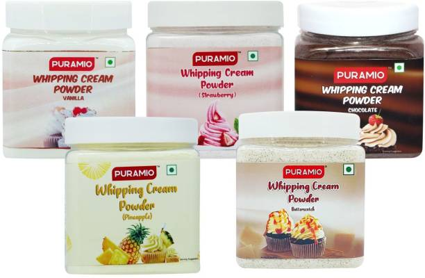 PURAMIO Whipping Cream Powder Combo Pack of 5- Vanilla, Chocolate, Pineapple, Strawberry and Butterscotch, each 250g Icing