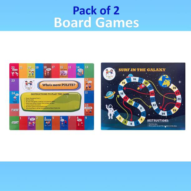 Enjunior Box BOARD GAME PACK OF 4 GAMES COMBO- WHO IS MORE POLITE? , WHO IS MORE ECO FRIENDLY? & SURF THE GALAXY , WHO IS MORE DISCIPLINED?, FOR AGE 3 YEARS AND ABOVE Board Game Accessories Board Game