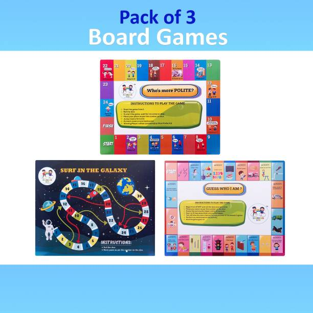 Enjunior Box BOARD GAME PACK OF 6 GAMES COMBO- SURF THE GALAXY, WHO IS MORE DISCIPLINED?, WHO IS MORE POLITE?, WHO IS MORE ECO FRIENDLY? & GUESS WHO I AM ? , THE FOOD GAMER, FOR AGE 3 YEARS AND ABOVE Educational Board Games Board Game