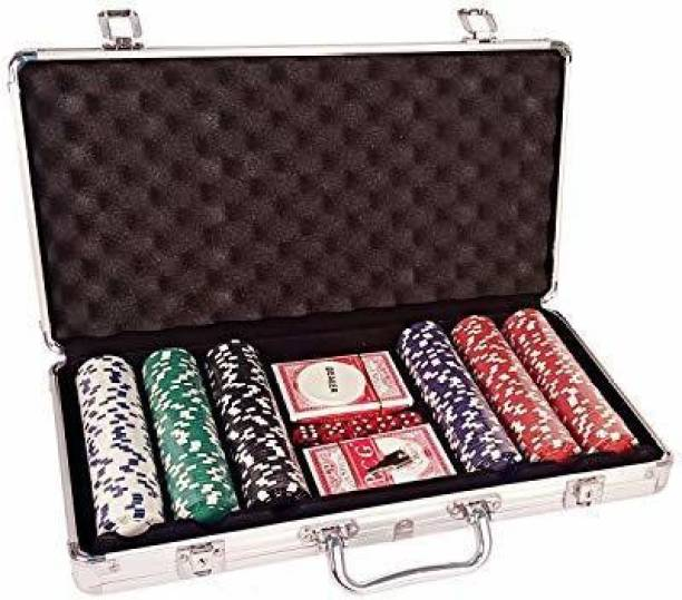 Prokick Casino Style Poker Chips Set with a Aluminum Finish Case, 2 Decks of Cards, 5 red Color dice - 300 Pieces