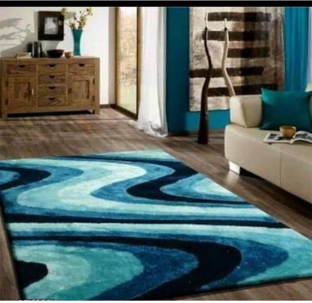 RM Handloom Blue Polyester Carpet