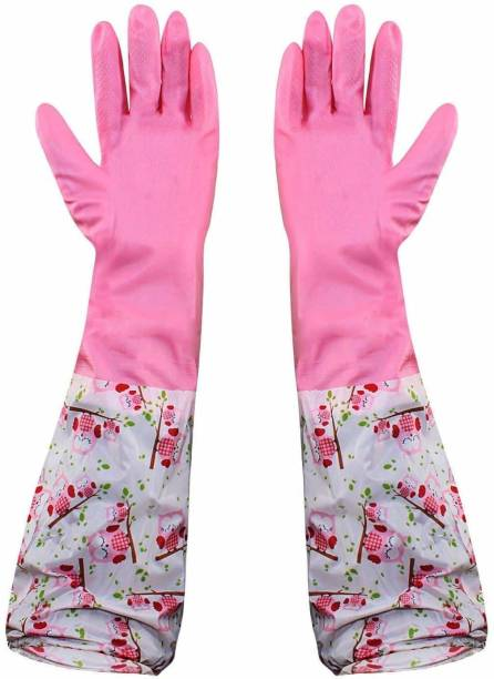 MobFest ® Waterproof PVC made Reusable Dishwashing Gloves Kitchen Durable for Winter/Warm Housework Cleaning Gloves Wet and Dry Glove