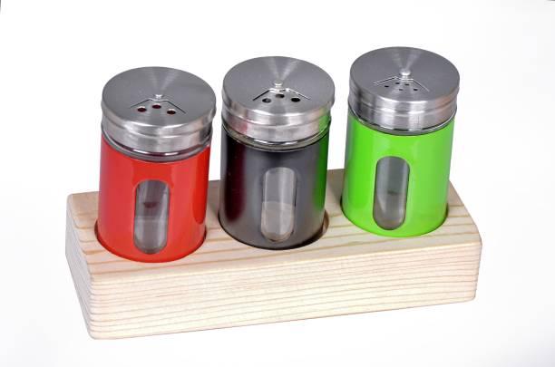 SIMTOCRAFT Salt & Pepper Set pack of 3 with wooden stand 3 Piece Salt & Pepper Set