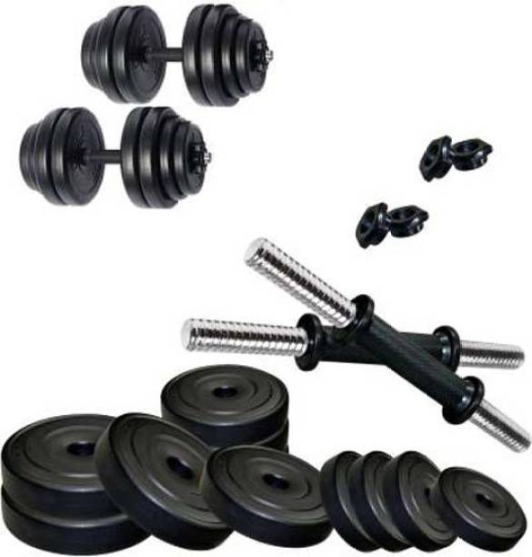 Mahadev Sports 22 kg Pvc weight with 2 Dumbbell rods Adjustable Dumbbell